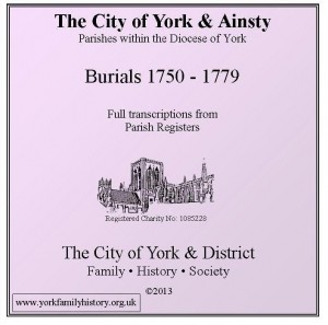 York & Ainsty Burials 1750 - 1779  CD case front